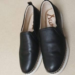 Sam Edelman Slip On Black Leather Sneakers